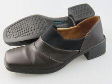 JOSEF SEIBEL Brown Leather Black Accents Heels Shoes Women's EU 39 US 8-8.5
