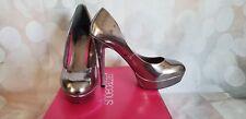 Shoedazzle VIDA Pewter Silver Metallic Platform Pumps Shoes Sz 9.5 9 1/2 NEW