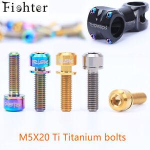 6Pcs Titanium Ti M5x20mm Hex Socket Washer round Head Bolt For Bike bicycle Stem
