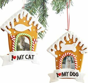 [2-Pack] I Love <3 My Cat & Dog Personalized Photo Ornaments for Christmas Tree