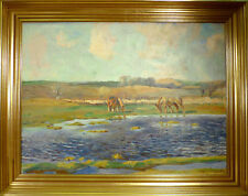 NIELS LINDBERG! LANDSCAPE WITH HORSES AT THE STREAM.