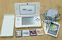 New Nintendo 3DS White Console + Genuine Charger + x4 Games Mario Kart 7 + AR