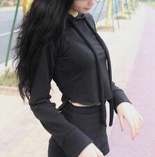 Hot Sale! Korean Women Black Crop Tops Sports Long Sleeve Hoodie