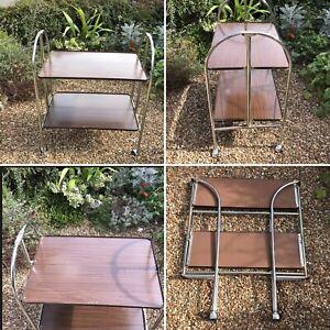 🌟MCM Wood Veneer Trolley Chrome Drinks Cocktails Tea Folding Hostess Bar Cart