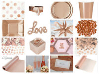 Rose Gold Party Tableware Napkins Cups Plates Straws Crystals Confetti Candles