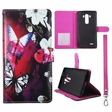 For LG G4 Us991 Sk Wallet White Flower Butterfly Cover Uni Case Split