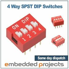 4 Way DIP Switch 2.54mm DIL SPST PCB Mount. Ideal for Arduino