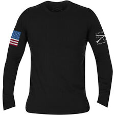 Grunt Estilo a todo color bandera básica de manga larga T-Shirt-Negro