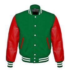 Green Wool Red Real Leather Sleeves Letterman College Baseball Varsity Jacket