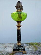 Lampe petrole bronze cristal marbre d'époque Napoleon III 19ème