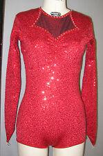 RED ZSA-ZSA SEQUINED RETRO-LEGGED BIKETARD+STONES DANCE/SKATE COSTUME-Size M