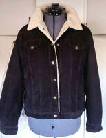 Vintage 90s Richards Black Corduroy Sherpa Lined Trucker Jacket Tag XL Mens M/L