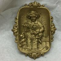 Vintage Ornate Cast Metal Trinket Tray Kittens Footed Dish
