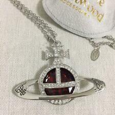 Vivienne Westwood Red Necklace Pendant Silver chain Orb Mint condition