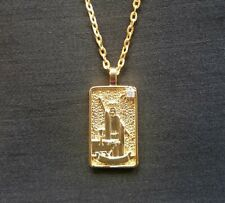 """I Magus/Magician Tarot Card Pendant on 20"""" chain, Goldplated with Cubic Zirconia"""