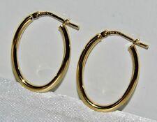 BEAUTIFUL 9 CT YELLOW GOLD & SILVER LADIES OVAL HOOP CREOLE EARRINGS