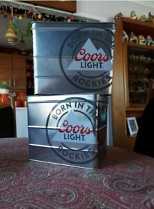 2 x  Brand New Coors Light Tin Ice Bucket Beer Carrier. Man cave, Home Bar