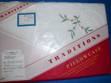 """Luxurious Embroidered Pillow Sham/Case~Queen~White Floral 20""""x 30"""""""