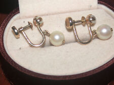 Sw Pearls Screw Back Earrings Hallmarked 10K Yellow Gold White