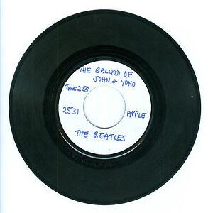 "RARE Advance WLP copy of 45 ""Ballad of John & Yoko"" Beatles Apple 2531 NM"