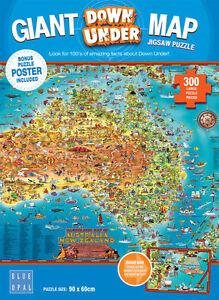 Blue Opal Jigsaw Puzzles Australia New Zealand Giant Map Down Under Puzzle 300pc