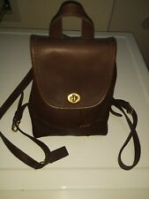 Vintage COACH Dark Brown Leather Mini Backpack Genuine Turnlock Top Handle #9960