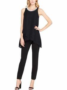 TAHARI ASL // Size US 4 AU 8 // Black Embellished Pants Suit Jumpsuit