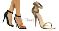 Women High Heels Ankle Strap Open Toe Sexy Stiletto Gold Plate Sandals Shoes