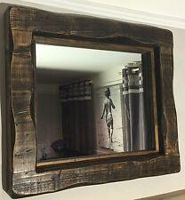Large Mirror alcove fireplace rustic reclaimed timber wood storage Dark oak wood