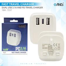 Universal ANG Dual 2 Twin Port USB Wall Mains Charger Plug Power Adapter UK