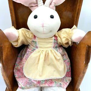 VTG Handmade Easter Bunny Rabbit Dolls Folk Art Plush Wire Ears French Country