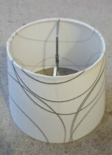 Linen with raised embroidered gray lines drum LAMP SHADE contemporary chic