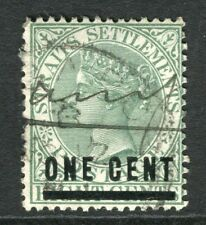 STRAITS SETTLEMENTS; 1892 classic QV surcharge ONE CENT used value, Postmark