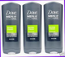 3 Dove Men +Care EXTRA FRESH Purifying Body and Face Wash Shower Gel