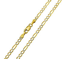 "14K Real Yellow 2 Tone Gold White Pave Diamond Cut Figaro Chain 2.7mm 22"" (1/8"")"