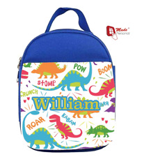 PERSONALISED LUNCH BAG- Cute Dinosaurs Design- Ideal for School - ANY NAME