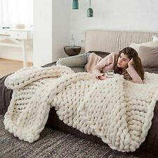 Knitted Blanket Winter Yarn Wool-like Bulky Soft Warm Sofa Bed Throw On Textiles