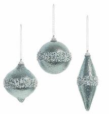3 x Beautiful Sparkling Ice Baby Blue Christmas Tree Baubles White Beaded Finish