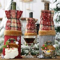 Christmas Ornament Wine Bottle Bag Plaid Cloth Bottle Decor Supplies Wrap C1N1