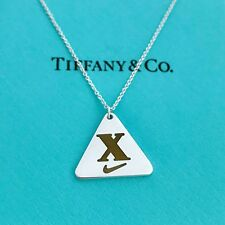 """Tiffany & Co 925 silver Nike Woman's 2013 triangle necklace 18"""" With Pouch!"""