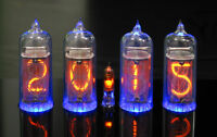 Nixie Tubes Clock with 4 pieces Ultra Rare Thin Grid IN-14 Tubes RGB backlight