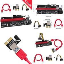 6 Pack 009 S PCIe Riser PCI-E 1X to 16X Extender Câble USB3.0 SATA pour 6Pin + 4Pin