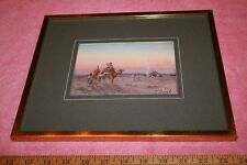 Antique Paul Pascal (French 1832 -1903) Orientalist Gouache Painting of Desert