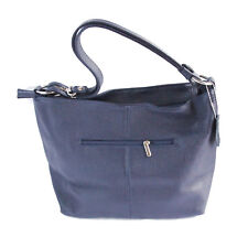 Ladies Lorella Italian Leather Bucket Handbag - Navy