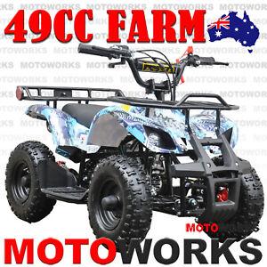 49CC QUAD ATV Bike Motoworks FARM Pocket Gokart 4 Wheeler mini Buggy kids BLUE