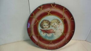 """REVERSE PAINTED GLASS VICTORIAN ERA YOUNG GIRLS READING ROUND 10""""Wall Needs Work"""