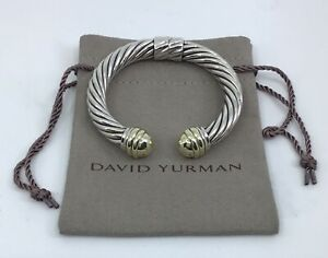 David Yurman 925 Sterling & 14k Gold 10mm Hinged Dome Cable Cuff Bracelet