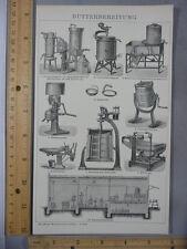 Rare Antique Original VTG Butter Making Churning Machines Illustration Art Print