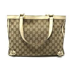 Gucci Vintage GG Supreme Monogram Canvas & Leather Tote Bag in Cream