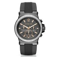 Michael Kors 150236 Dylan Grey Silicone Strap Gunmetal Chronograph Glitz Watch
